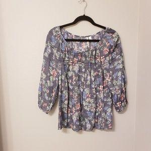 LC Lauren conrad denim colored floral tunic.
